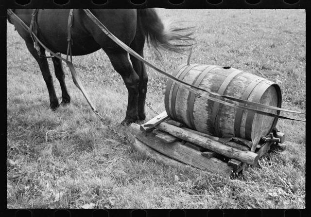 Water barrel, used for bringing water from spring which is some distance away, Garrett County, Maryland