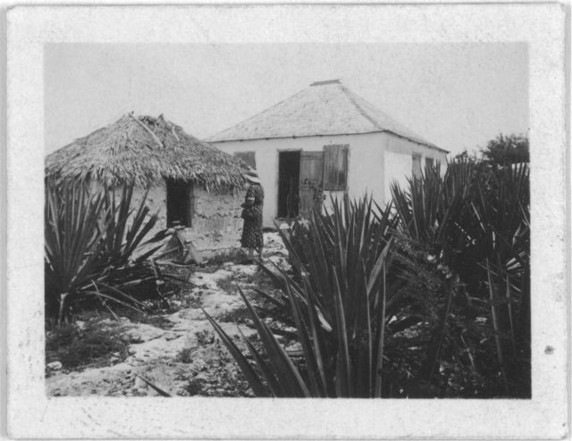 [Woman standing outside two houses, possibly from the visit by Alan Lomax and Mary Elizabeth Barnicle to Andros Island in the Bahamas]