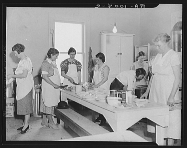Women volunteers preparing school lunch. Reedsville, West Virginia