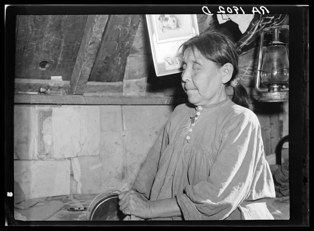 A blind Apache squaw. Mescalero Indian Reservation, New Mexico