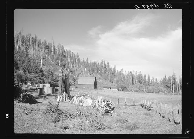 A farm on cut-over land in the Coastal Range. Oregon
