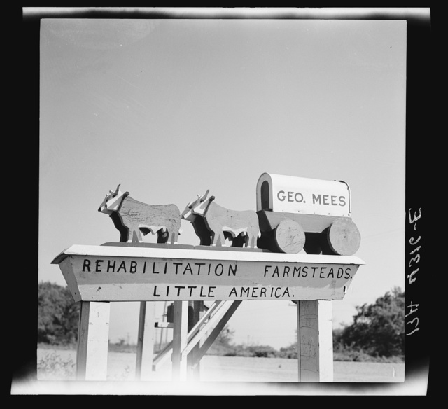 A resettled farmer's mail box. Fairbury Farmsteads, Nebraska
