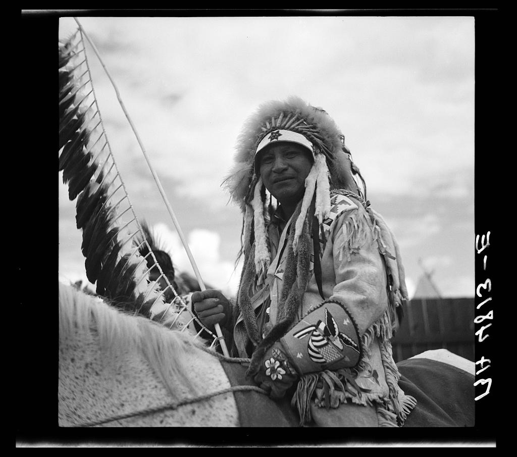 A Warm Springs Indian chief at the Molalla Buckeroo. Molalla, Oregon