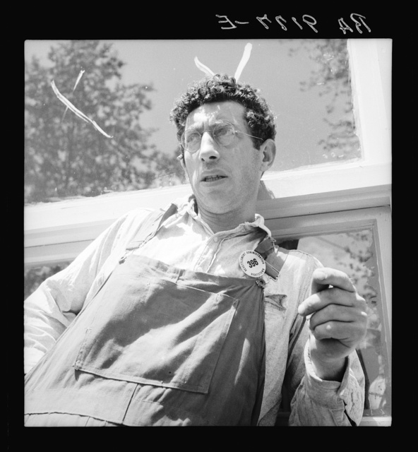 """Accepted applicant for resettlement on the Hightstown project. Jewish-American. This man is already employed on the project as carpenter, working on the nearly completed first unit of thirty-five houses. He says, """"Will we succeed?  Any people who will go through what we did--any people with such patience--will succeed"""""""