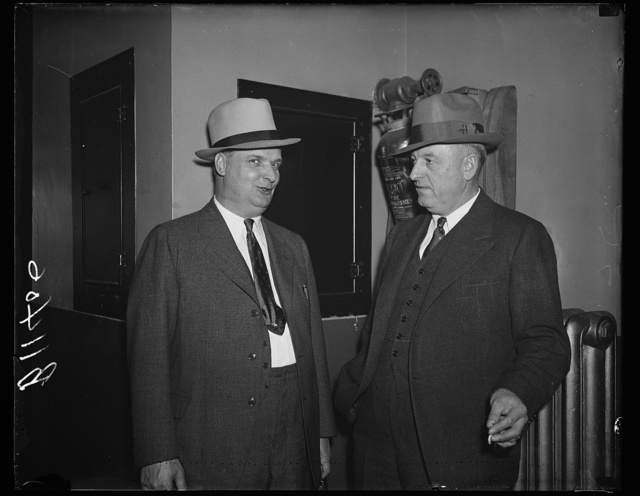 A.F. of L. hearing, Washington, D.C. Oct. 14. Bert Swain (left) and Claude O. Reilly, representing the Seattle Trade Union Council, testified before the Executive Committee of the American Federation of Labor today on the Seattle Post-Intelligence strike. After the evidence is in the A.F. of L. will endeavor to settle the dispute in a manner agreeable to both sides