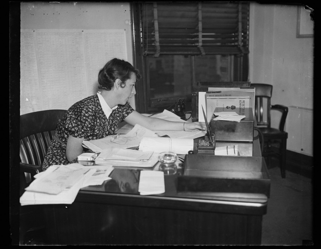 Aide to Rex Turwell, Washington, D.C. Sept. 29. An important figure in the resettlement is Miss Grace E. Falke, Executive Assistant to the Administrator Rex Tugwell. It was Miss Falke who had the final say on the interior furnishins for Greenbelt, the Resettlement Administration's planned city at Berwyn Heights, Md., which has just been completed