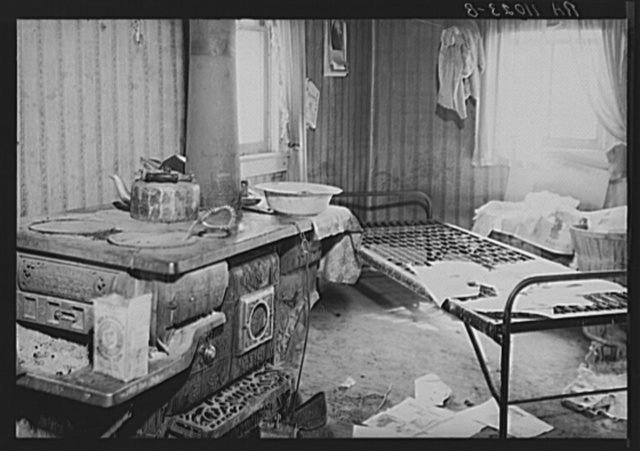 Albany County, New York. Bed on which a farmer lay weakened from malnutrition, although life-maintaining food was close by