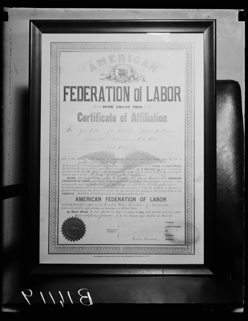 American Federation of Labor Certificate of Affiliation