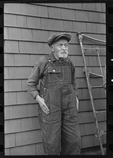 Andrew Ostermeyer, eighty-one years old. One of the original homesteaders. He has lost his farm to loan company. Still works and lives on farm of his son, Miller Township, Woodbury County, Iowa