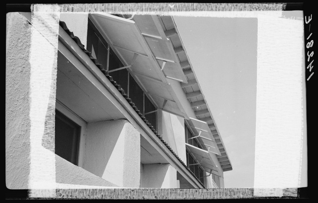 Apartment building, Chandler tract. View of louvers. Adobe construction.  Arizona