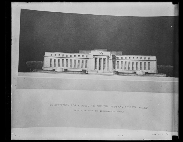 [Architectural drawing: Competition for a Building for the Federal Reserve Board, South Elevation on Constitution Avenue, Washington, D.C.]