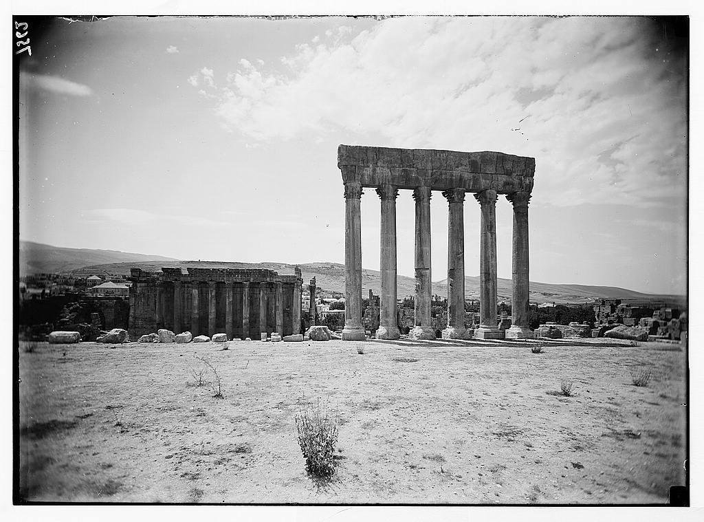 Baalbek. Temple of Jupiter. Temple of Bacchus in background