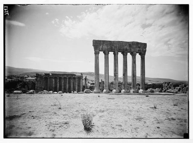Baalbek. Temple of Jupiter. Temple of Bacchus in background