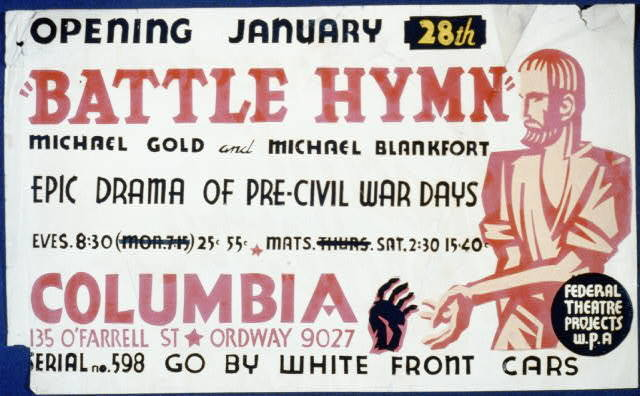 """""""Battle hymn"""" [by] Michael Gold and Michael Blankfort epic drama of pre-civil war days."""