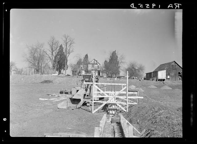 Beginnings of dam at lake site. Berwyn, Maryland
