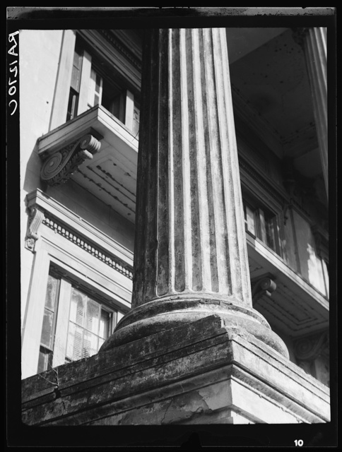 Belle Grove Plantation, Louisiana, 1858. Closeup of column