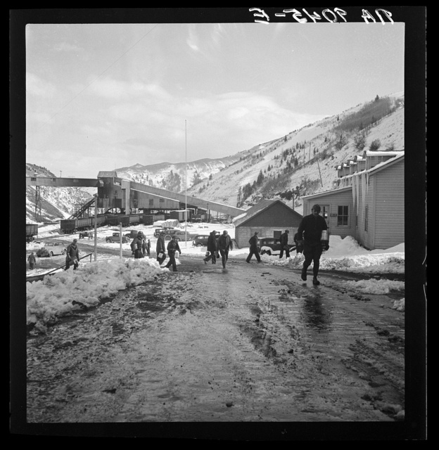 Blue Blaze mine. Consumers, mining town near Price, Utah. Miners coming home
