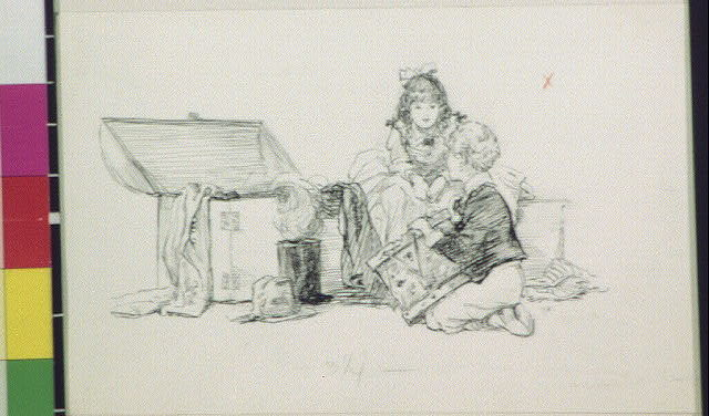 [Boy with drum and seated girl by open trunk]