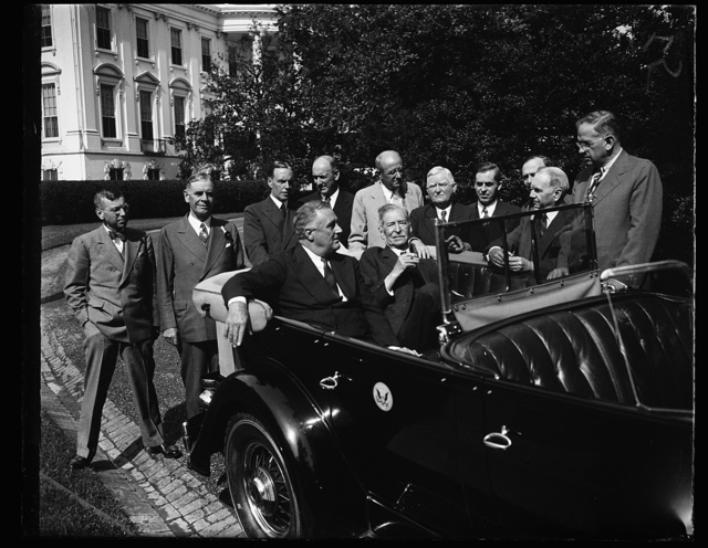BREAKS UP CABINET MEETING. WASHINGTON, D.C. MAY 21. THE SUDDEN AND SURPRISING APPEARANCE OF SECRETARY OF THE NAVY SWANSON AT THE WHITE HOUSE, CAUSED PRESIDENT ROOSEVELT TO ADJOURN THE CABINET MEETING THAT WAS TAKING PLACE. SEC. SWANSON HAD BEEN ILL FOR SEVERAL MONTHS, BUT IS NOW ON THE WAY TO RECOVERY