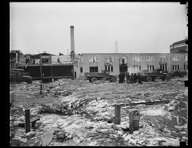 [Building demolition site; Washington Monument in background. Washington, D.C.]