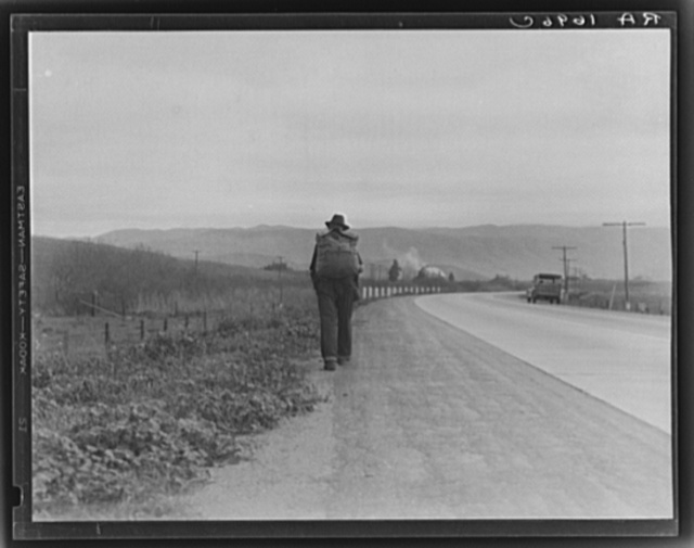 """""""Bum blockade."""" All heading north. South of King City, California. Difficult to get a record of this movement because these men wouldn't be photographed as a result of Los Angeles police activity"""