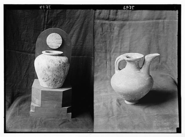 Byblos: Jebeil. Byblos. Alabaster vase ; pottery pot