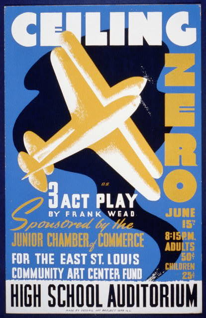 Ceiling zero 3 act play by Frank Wead : sponsored by the Junior Chamber of Commerce for the East St. Louis community art center fund / / D.S.