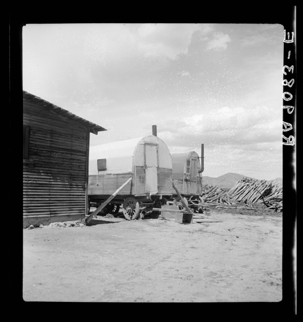 Central Utah fry land adjustment project, forty miles from Tooele, Utah. Sheep wagons in which some workers on project lived