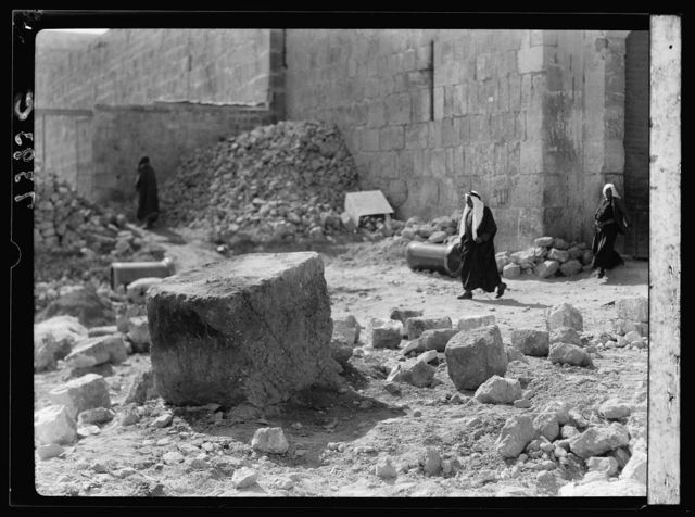 Clearing around city wall. Old tomb found near St. Stephen's Gate. Also, old stone found there & gen. View