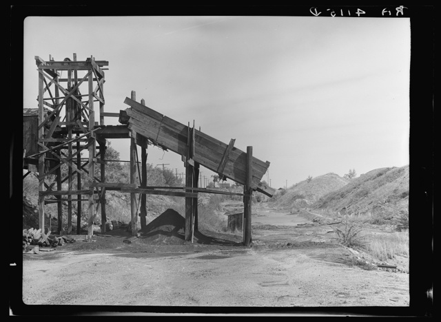 Coal mine with strip mining dumps in background. A problem in destructive land use. Cherokee County, Kansas