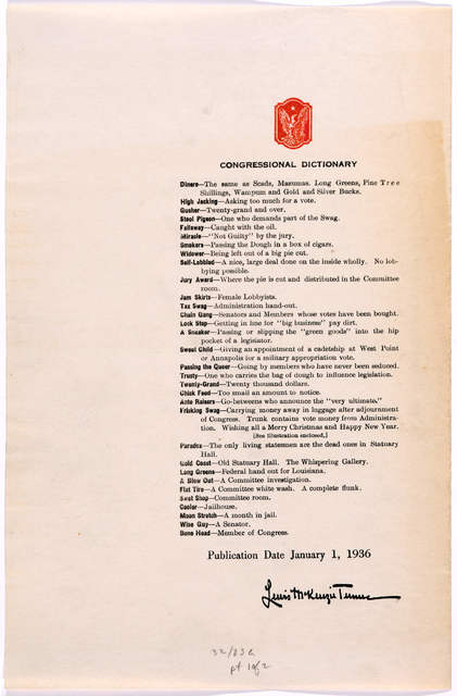 Congressional dictionary words, phrases and veiled allusions for use in effective lobbying together with methods of approach and convayancing for spontaneous legislation by Avery Quercus [pseud] [blank] Baltimore. Maryland Salt House press [1936