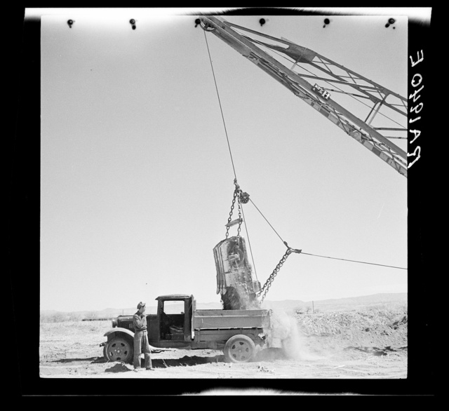 Constructing a new irrigation canal. Bosque Farms, New Mexico