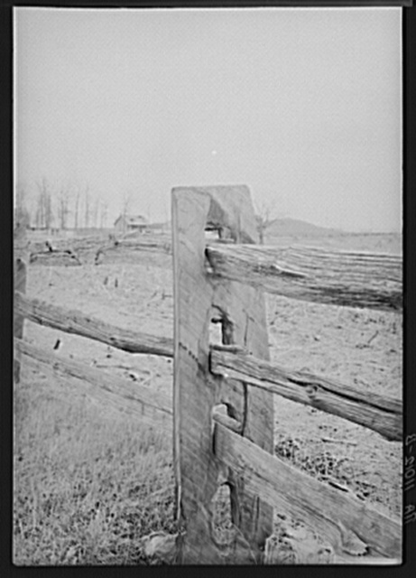 Construction detail of fence near Bethlehem, Pennsylvania. The fence posts are state