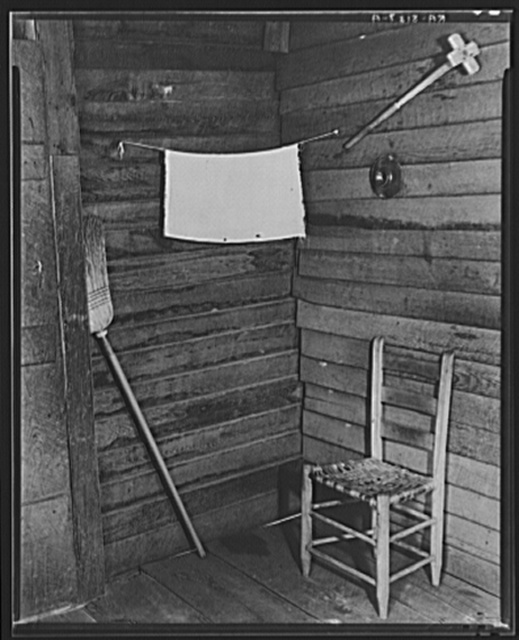 Corner of kitchen in Floyd Burroughs' cabin. Hale County, Alabama