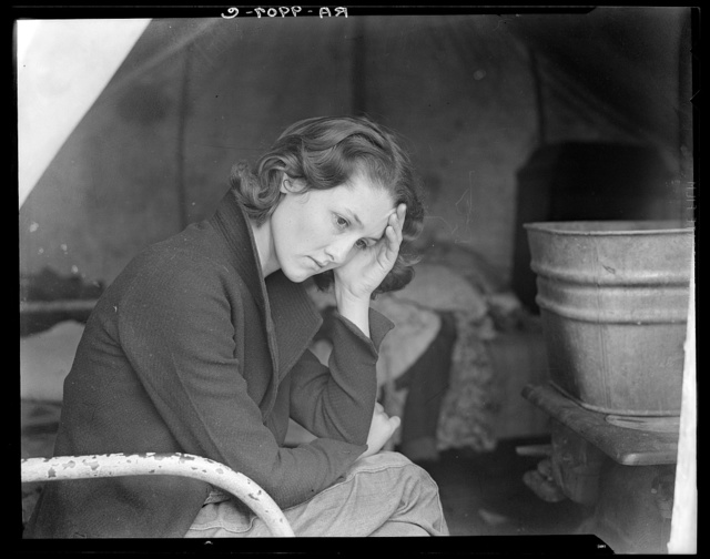 Daughter of migrant Tennessee coal miner. Living in American River camp near Sacramento, California