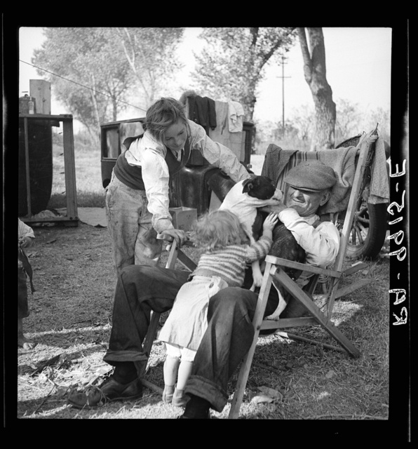 Destitute family. American River camp, Sacramento, California. Five children, aged two to seventeen years
