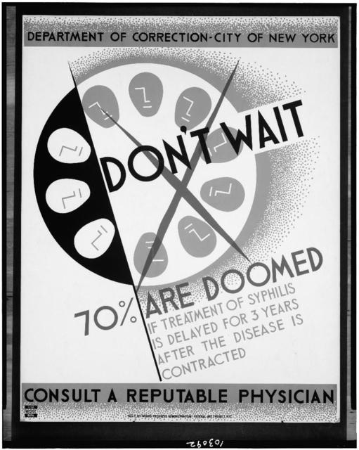 Don't wait - 70% are doomed if treatment of syphilis is delayed for 3 years after the disease is contracted Consult a reputable physician.