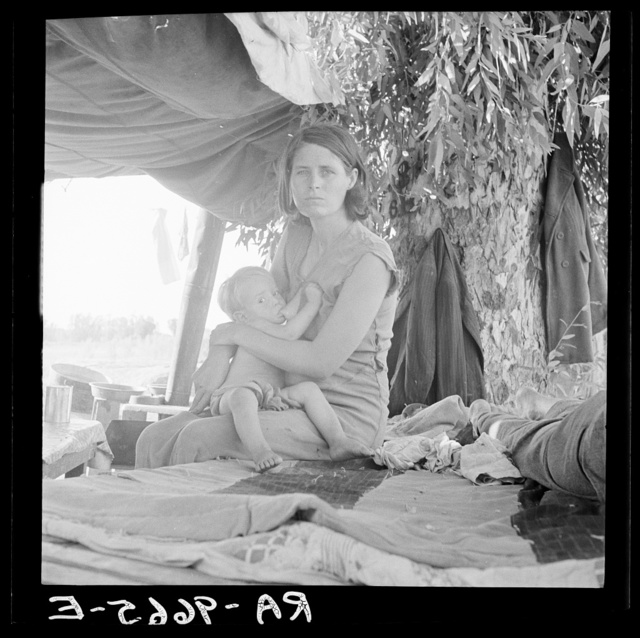 Drought refugees from Oklahoma camping by the roadside. They hope to work in the cotton fields. The official at the border (California-Arizona) inspection service said that on this day, August 17, 1936, twenty-three car loads and truck loads of migrant families out of the drought counties of Oklahoma and Arkansas had passed throught that station entering California up to 3 o'clock in the afternoon