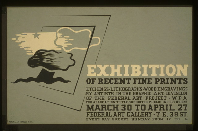 Exhibition of recent fine prints Etchings, lithographs, wood engravings by artists in the Graphic Art Division of the Federal Art Project, WPA : For allocation to tax-supported public institutions.