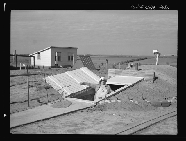 Exterior of storage cave. Falls City Farmsteads, Nebraska