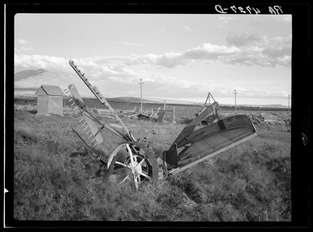 Farm implements on an abandoned farm in the Central Oregon grazing project