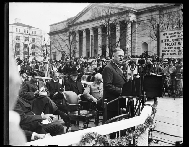 FDR [Franklin Delano Roosevelt] SPEAKING AT LAYING OF CORNERSTONE OF NEW INTERIOR BUILDING