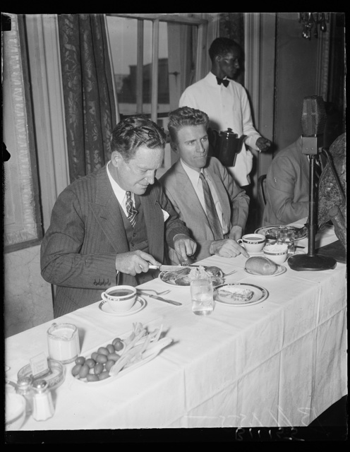G.O.P. Sept. 10. John Hamilton, Chairman of the Republican National Committee was a luncheon guest at the Press Club in Washington where he addressed the members of the press today. Photo shows left to right: John Hamilton and George Simpson, President of the National Press Club
