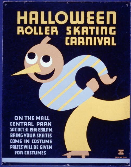 Halloween roller skating carnival On the mall, Central Park : Bring your skates : Come in costume : Prizes will be given for costumes.