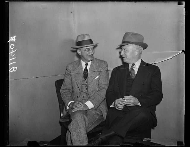 Hearst Representatives at A.F. of L., Washington, D.C. Oct. 14. E.G. Woods, (left) and Harvey Kelly represented William Randolph Hearst at the special hearing before the American Federation of Labor today when evidence on the Seattle Post-Intelligence strrike was submitted from both sides