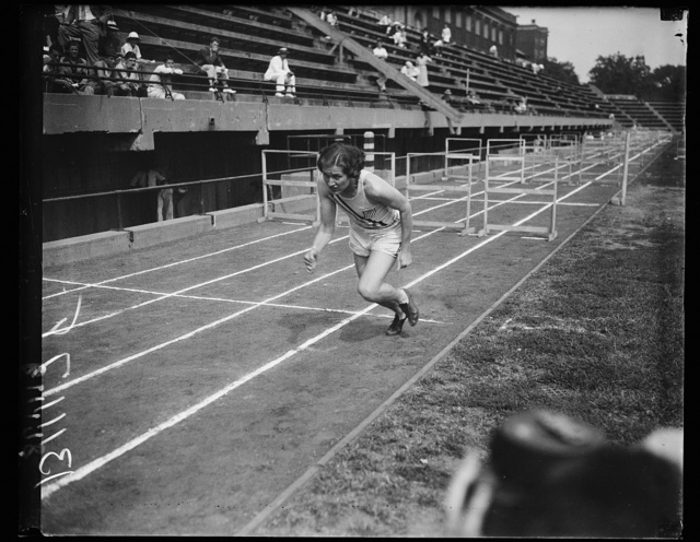 Helen Stephens in action, Washington, D.C., Sept. 12. Photo shows Helen Stephens, the Olympic champion in action. The 18 year old champ tried to break the record for the 200 meter record here in Washington