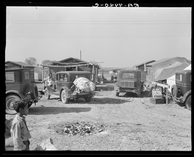 Housing for migratory workers in cotton, five miles north of Corcoran, California. The famous strikers' concentration camp in 1933 was at Corcoran camp