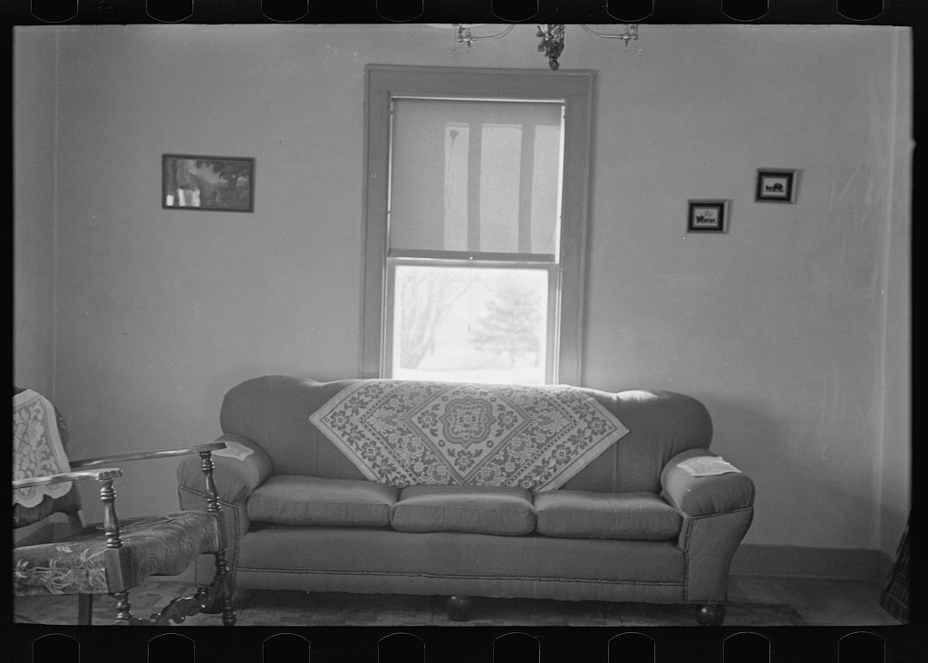 Interior of living room, G.H. West farm near Estherville, Iowa