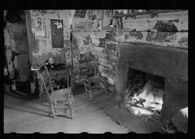 Interior of mountain farmhouse, Appalachian Mountains near Marshall, North Carolina