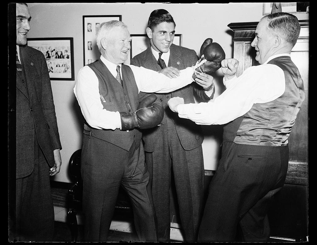 [John Nance Garner with boxing gloves]
